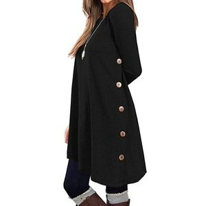 🆕 Black oversized button long sleeve tunic dress